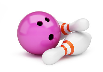 bowling strike 3D rendering, 3D illustration on a white background