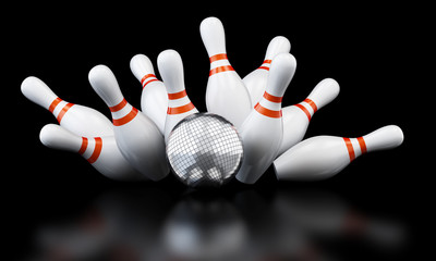 bowling strike disco ball 3D illustration