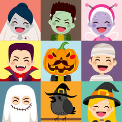 Happy children Halloween avatar costume collection and crow