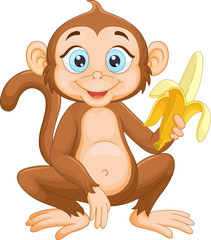 Cartoon monkey holding banana