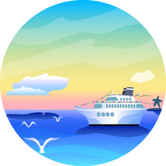 Round vector illustration with cruise liner and sea landscape, tropical holiday vibrant image
