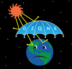 Illustration of Earth with Ozone layer