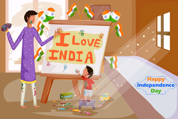 Indian people painting Happy Independence Day of India
