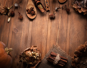 autumn background with fruits and spices