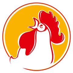 Silhouette of the cock head. Illustration of a chicken rooster crowing viewed from the side set inside circle on isolated background. Chinese New Year of the Rooster. Head of rooster in red color.