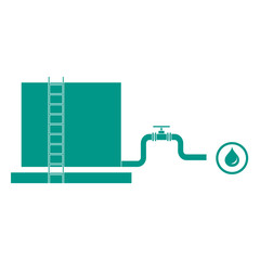 Stylized icon of the tank with oil and a pipe with a valve