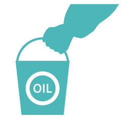 Stylized icon of the hand carrying a bucket of oil