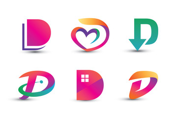 Abstract Colorful D Logo - Set of Letter D Logo