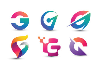 Abstract Colorful G Logo   Set Of Letter G Logo