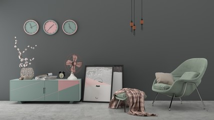 Minimal interior with armchair drawer flower and clocks / watch on grey wall. Good for presentation