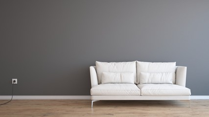 Minimal Empty And Clean Light Grey Wall With Wooden Floor