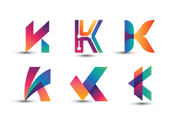 Abstract Colorful K Logo - Set of Letter K Logo