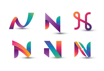 Abstract Colorful N Logo - Set of Letter N Logo