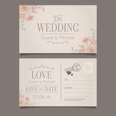 Wedding invitation in postcard style