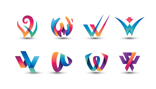 Abstract Colorful W Logo - Set of Letter W Logo
