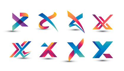 Abstract Colorful X Logo - Set of Letter X Logo