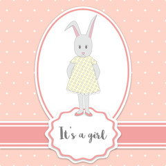 Baby shower card with bunny girl and polka dots background. It's a girl - lettering quote. Birthday party.