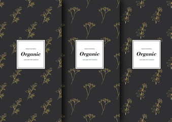 Set of labels, packaging for organic shop or natural cosmetics. Vector floral patterns with grey and golden colors.