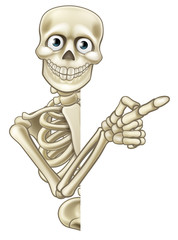Cartoon Pointing Skeleton