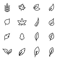 Vector line leaf icon set