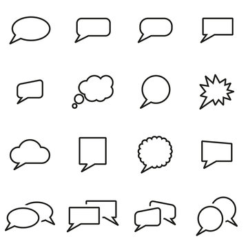Vector line speach bubbles icon set