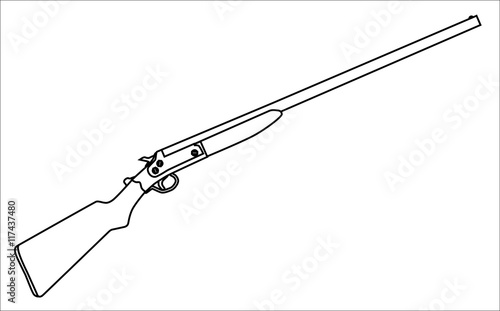 Shotgun outline stock image and royalty free vector for Shotgun coloring pages