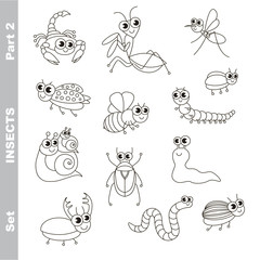 Small cute insects set in vector.