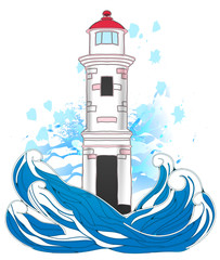 Vector illustration of lighthouse with splashes of water.