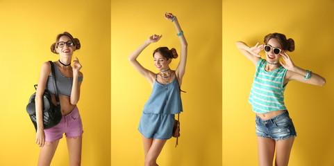 Beautiful fashion girl on yellow background