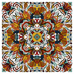 Colorful ornamental floral paisley shawl, bandanna. Square pattern.