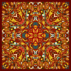 Vector ornament floral Bandana Print, silk neck scarf or kerchief square pattern design style for fabric. Apparel art.
