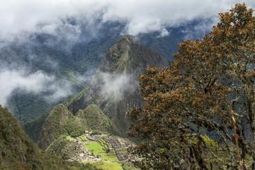 Machu picchu inca ruins between Andes mountain , Peru. High view