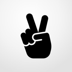 victory hand sign icon.