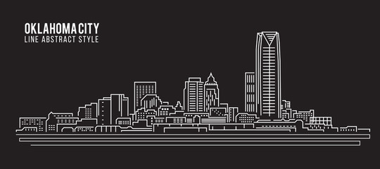 Cityscape Building Line art Vector Illustration design - Oklahoma city