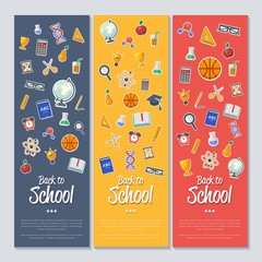 Back to school banner with flat vector icons. Vector flat Illustration. Arts and science stickers. Education concept. School symbols.