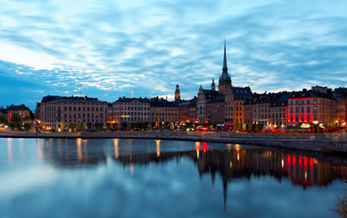 "Scenic summer ""white night"" panorama of the Old Town (Gamla Stan)."