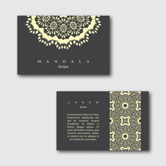 Set of ornamental business cards with hand drawn mandala and pat