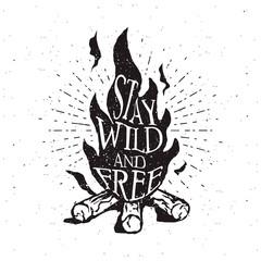 Hand drawn campfire