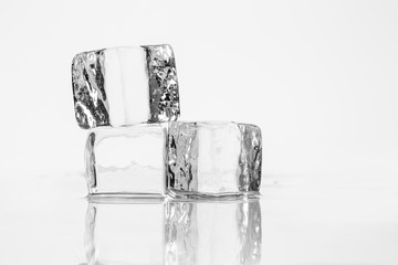 Ice cube on table