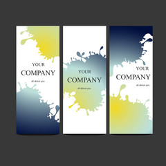 Vector template banners with watercolor paint abstract background