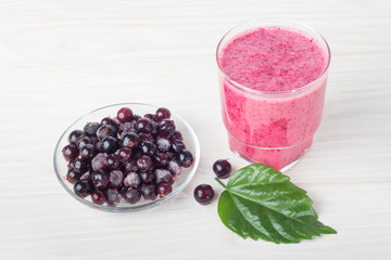 Healthy mashed fruit with yogurt. Mixed Berries blackcurrant dri