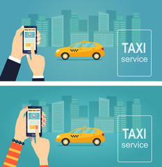 Taxi service. Uber. Smartphone and touchscreen, city skyscrapers. Banner. Vector flat illustration.
