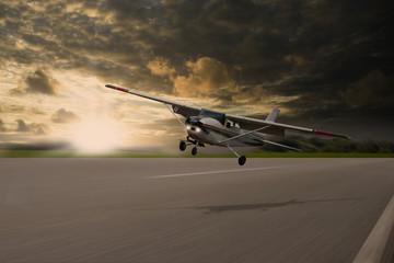 Kleinflugzeug beim Starten