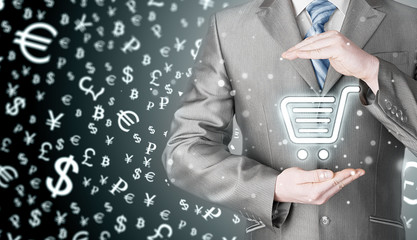 Consumer protection concept. Safety and insurance of trade and goods. Online marketing. Money background. World currency.