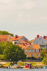 Ancient swedish houses in the seaside bay of Karlskrona