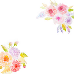 Two Watercolor Flower Bouquets (hand drawn)