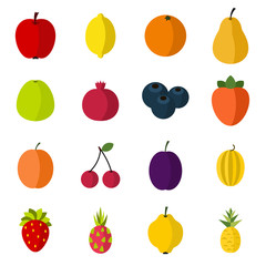 Flat fruit icons set. Universal fruit icons to use for web and mobile UI, set of basic fruit elements isolated vector illustration