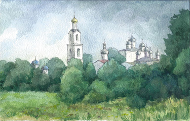 Foto auf Leinwand Olivgrun Russian landscape with a monastery, watercolor