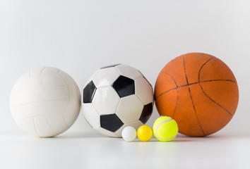 close up of different sports balls set