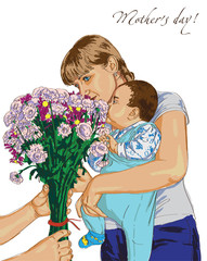 mother day and bouquet of flowers